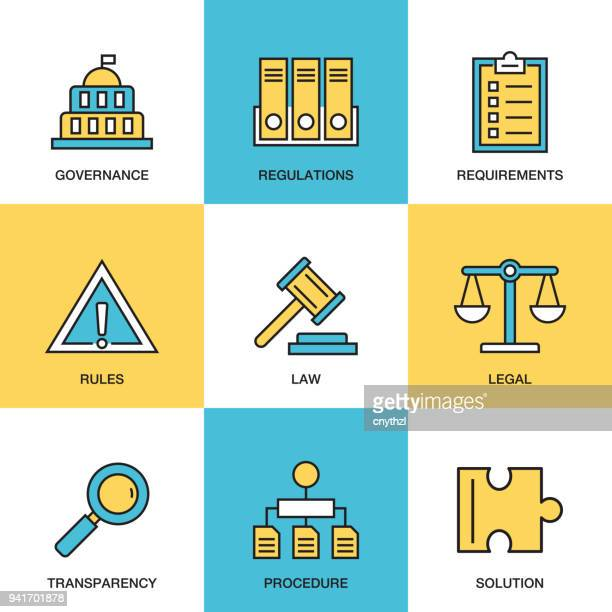 compliance icon set - rules stock illustrations, clip art, cartoons, & icons