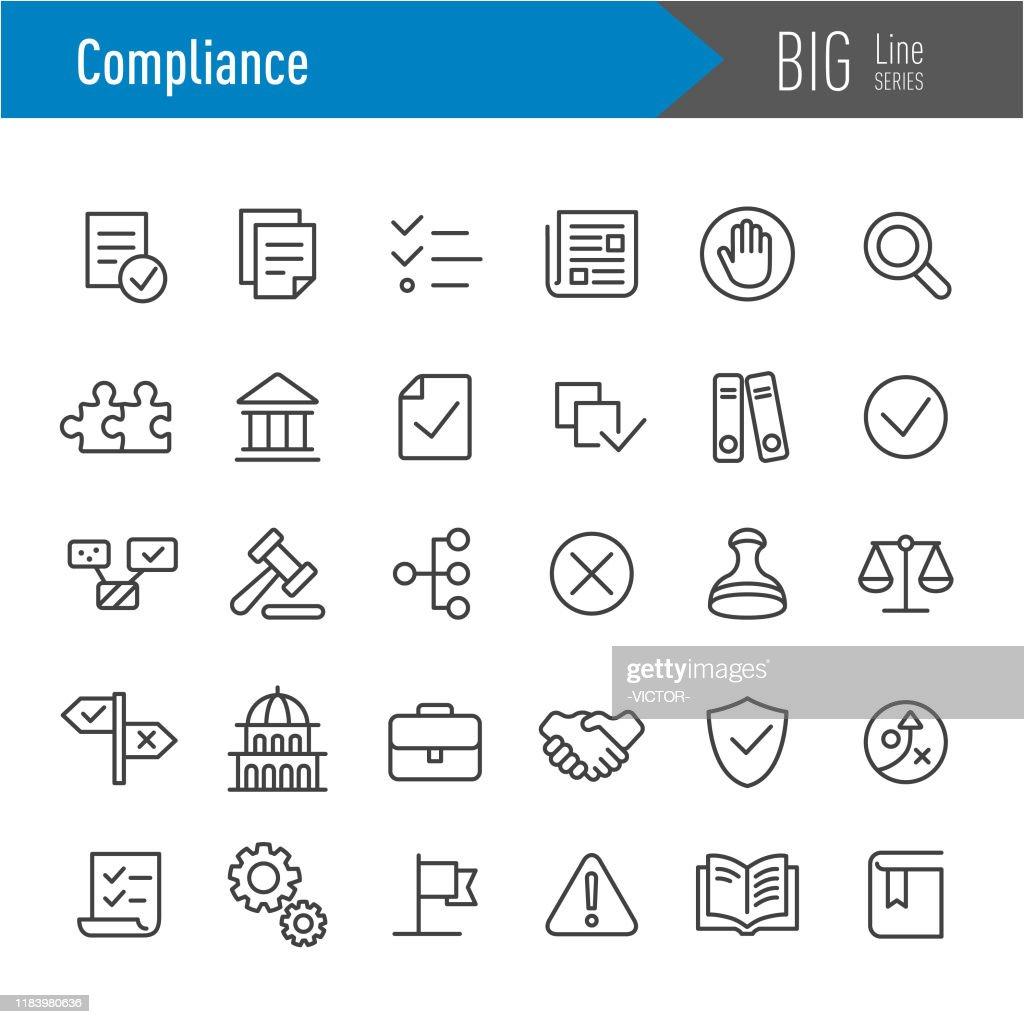 Compliance Icons - Big Line Series : stock illustration