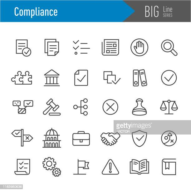 compliance icons - big line series - politics stock illustrations