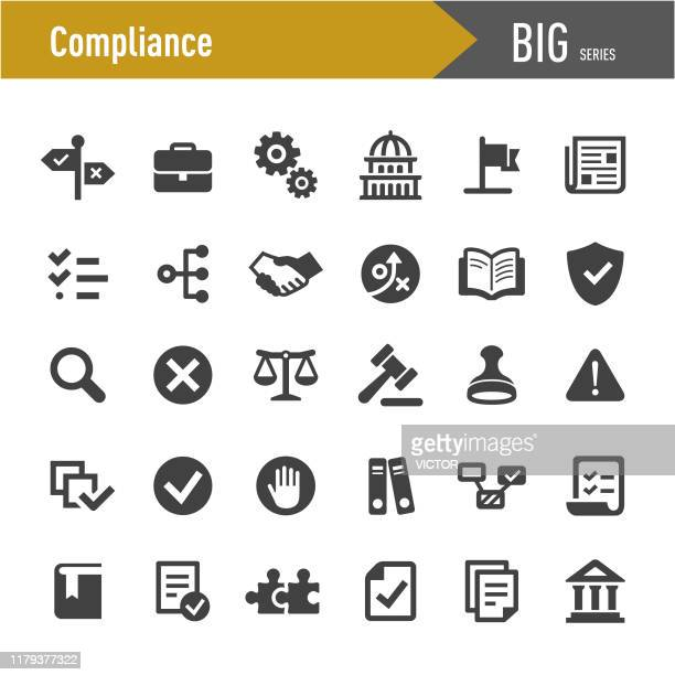 compliance icons - big series - business finance and industry stock illustrations