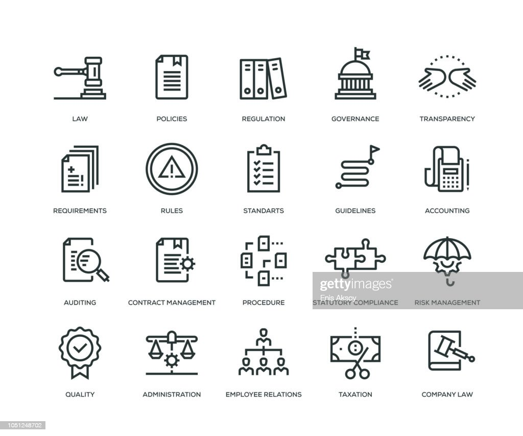 Compliance Icons - Line Series : Stock Illustration