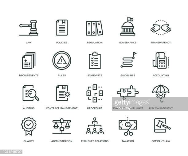 compliance icons - line series - politics concept stock illustrations