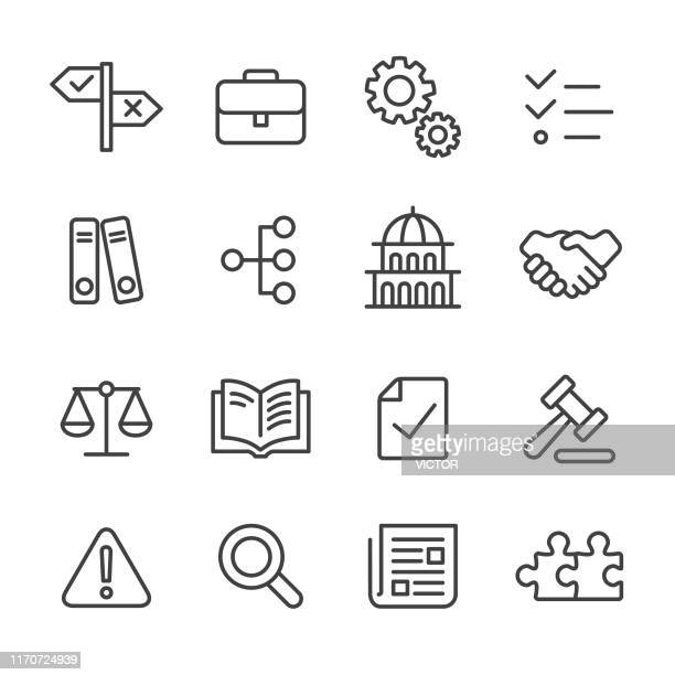 compliance icons - line series - contract stock illustrations