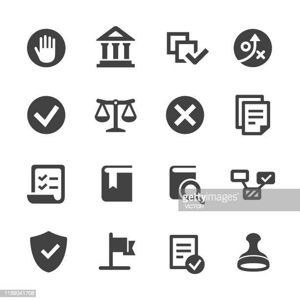 compliance icons set - acme series - politics and government stock illustrations