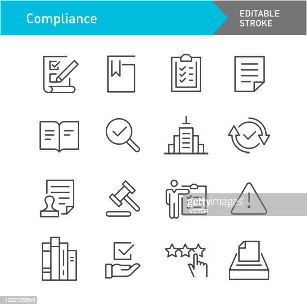 compliance icons set - line series - editable stroke - catalogue stock illustrations