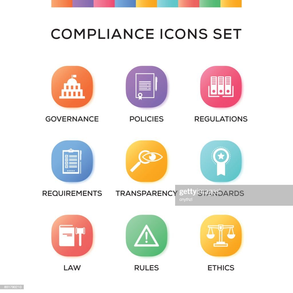 Compliance Icons Set on Gradient Background : stock illustration