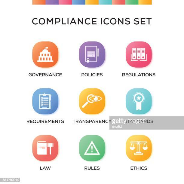 compliance icons set on gradient background - permission concept stock illustrations, clip art, cartoons, & icons