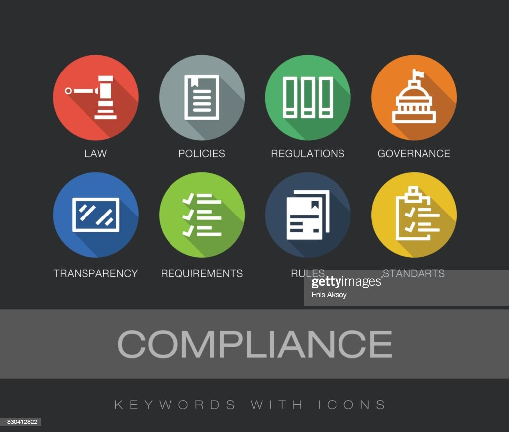 Compliance keywords with icons : stock illustration