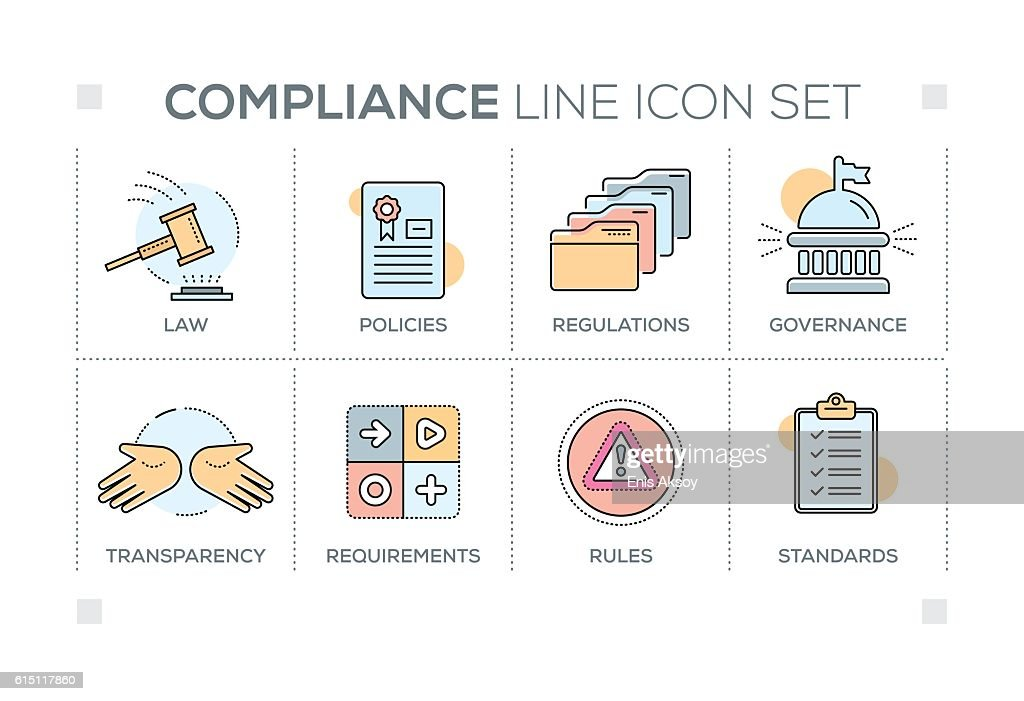 Compliance keywords with line icons : stock illustration
