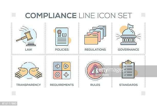 compliance keywords with line icons - permission concept stock illustrations, clip art, cartoons, & icons