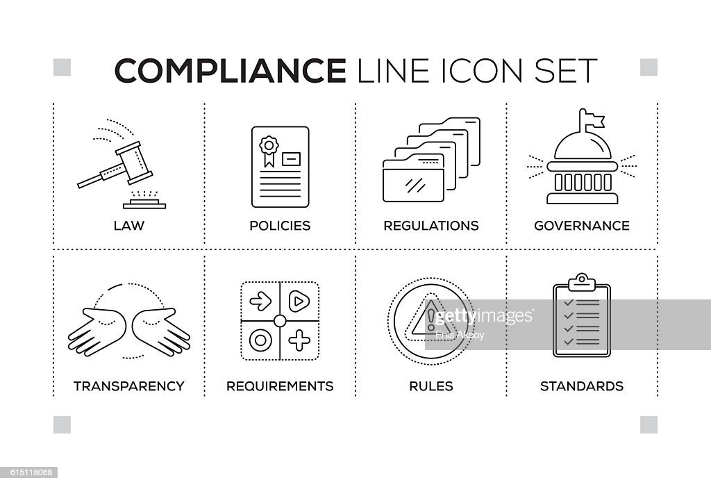Compliance keywords with monochrome line icons