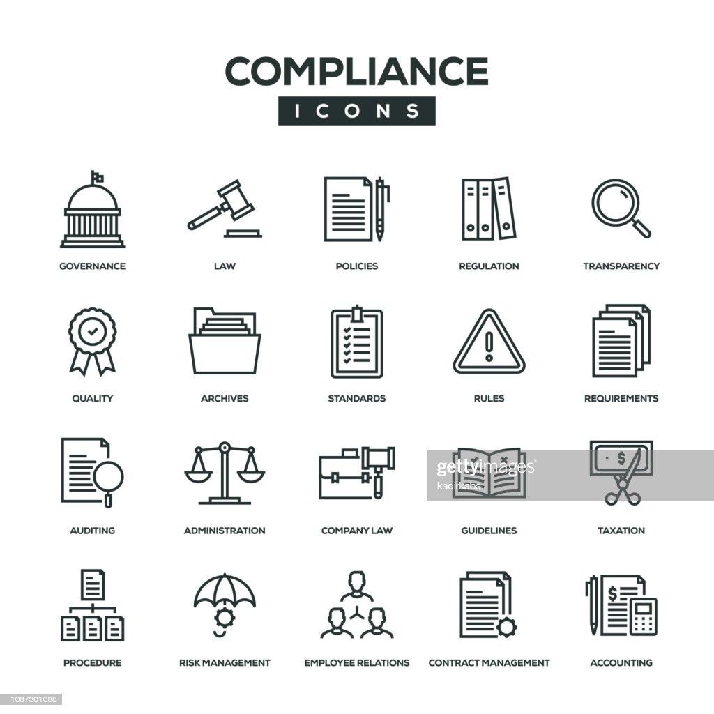 Compliance Line Icon Set : Stock Illustration