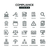 Compliance Line Icon Set