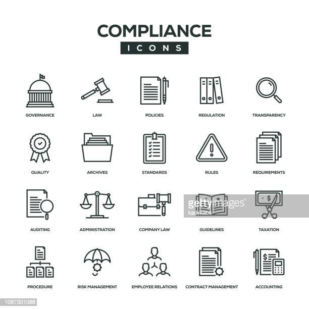 illustrazioni stock, clip art, cartoni animati e icone di tendenza di compliance line icon set - legge