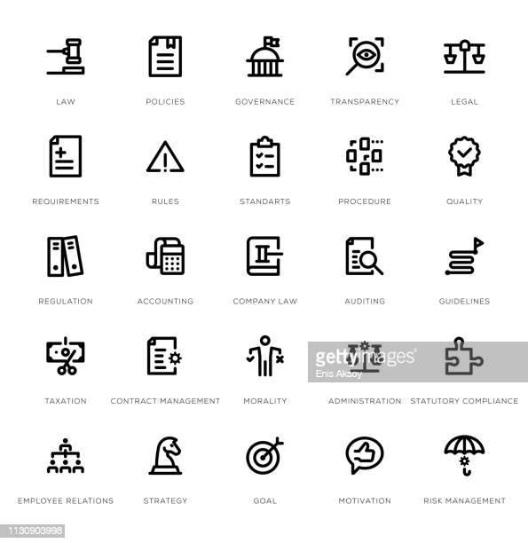 コンプライアンスラインアイコンセット - リスク管理点のイラスト素材/クリップアート素材/マンガ素材/アイコン素材