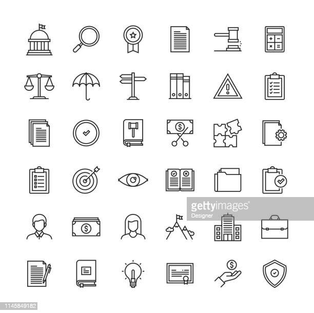 stockillustraties, clipart, cartoons en iconen met conformiteits lijn icon set - overheid