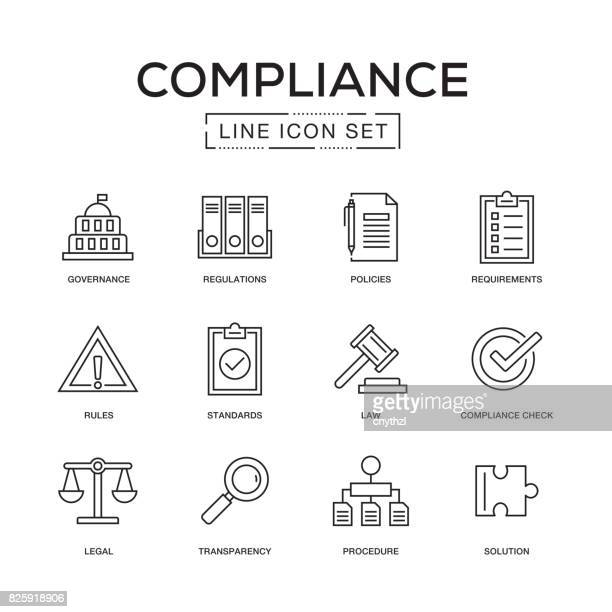 compliance line icon set - strategy stock illustrations, clip art, cartoons, & icons