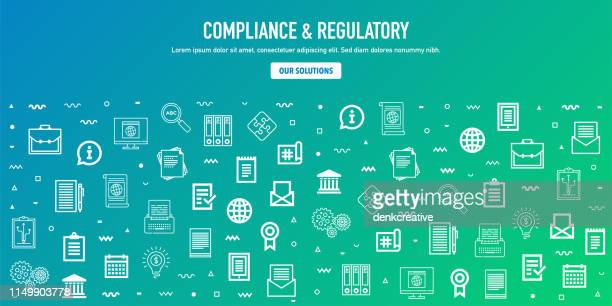 illustrazioni stock, clip art, cartoni animati e icone di tendenza di compliance & regulatory outline style web banner design - finanza ed economia