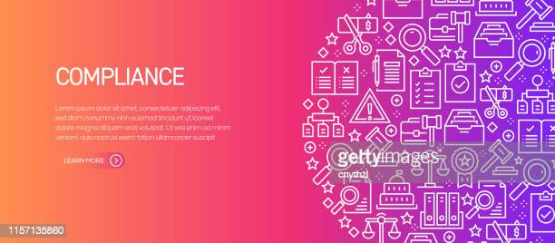 compliance related banner template with line icons. modern vector illustration for advertisement, header, website. - politics concept stock illustrations