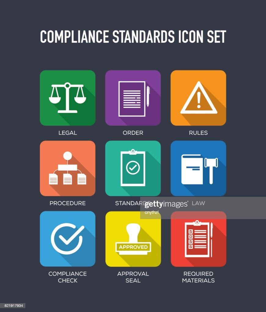 Compliance Standards Flat Icons Set : stock illustration