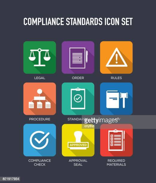 compliance standards flat icons set - rules stock illustrations, clip art, cartoons, & icons