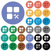 Component tools round flat multi colored icons
