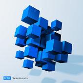 Composition of blue 3d cubes.