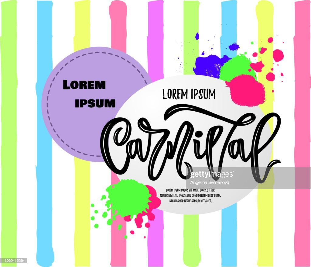 composition of carnival hand calligraphy lettering inscription on colorful striped background. vector.