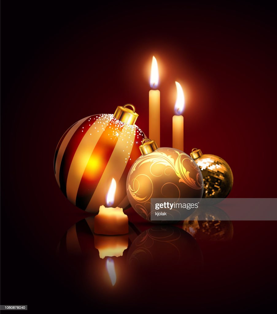 Composition of Christmas balls and candles on a dark  background with reflection effect . Highly realistic illustration.