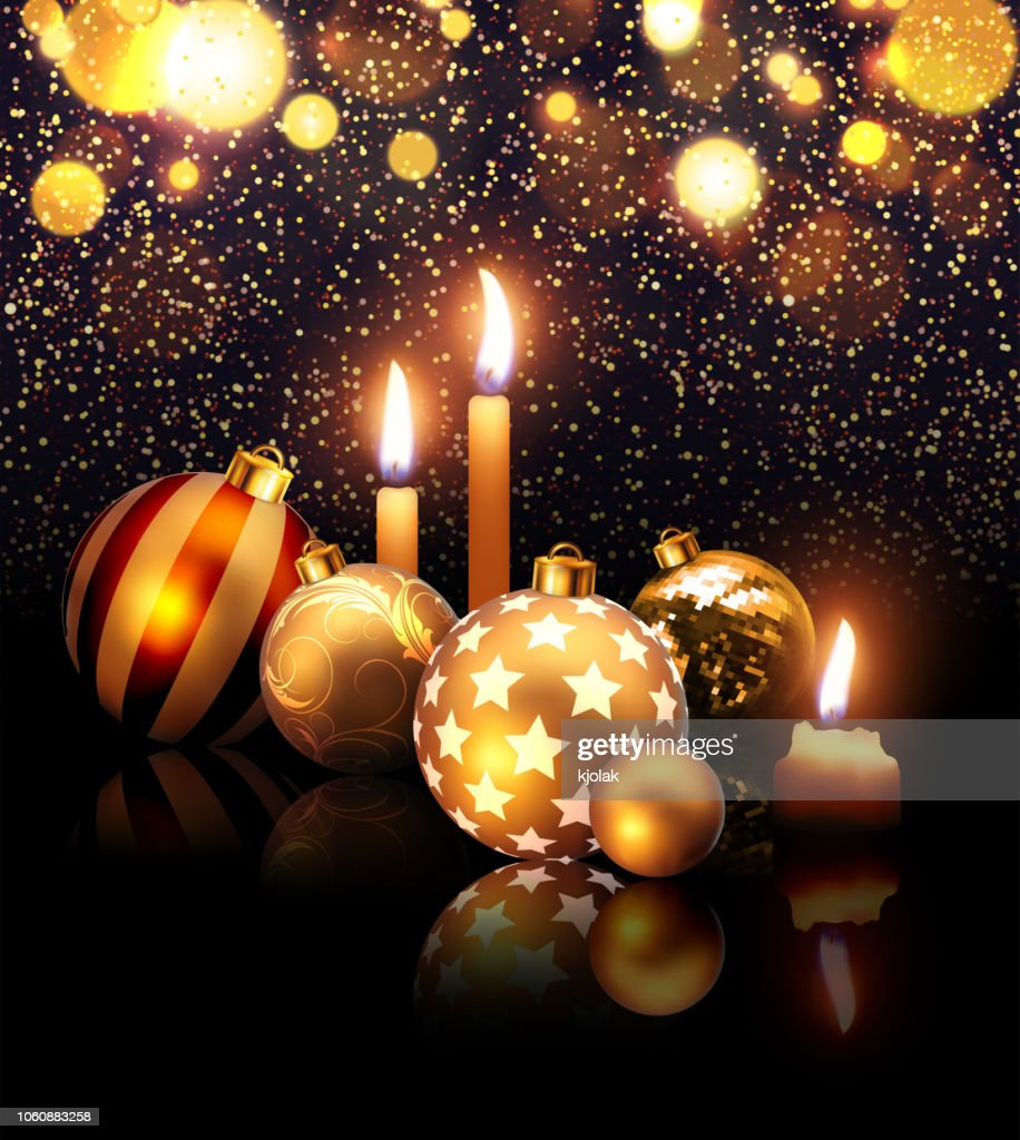 Composition of Christmas balls and candles on a dark sparcling background with reflection effect . Highly realistic illustration.