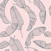 Composition of exotic palm banana leaf on a light pink background. Print summer seamless vector pattern wallpaper