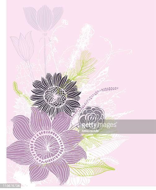 構図のミックス花 - 結婚記念日のカード点のイラスト素材/クリップアート素材/マンガ素材/アイコン素材