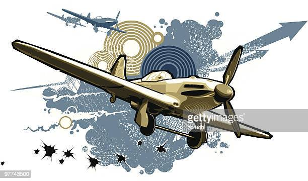 composition with an aircraft - world war ii stock illustrations