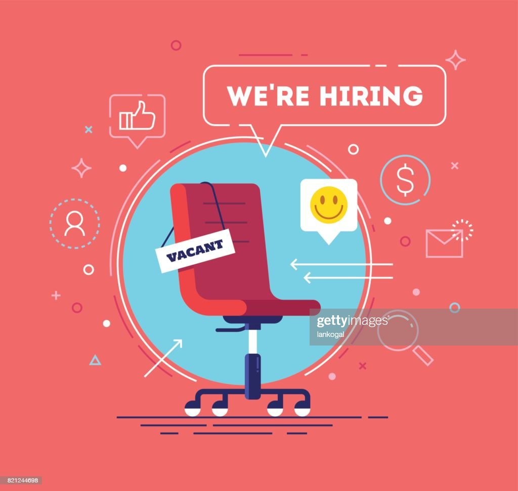 Composition with office chair, a sign vacant and inscription we're hiring with icons on background. Business recruiting concept. Vector illustration.