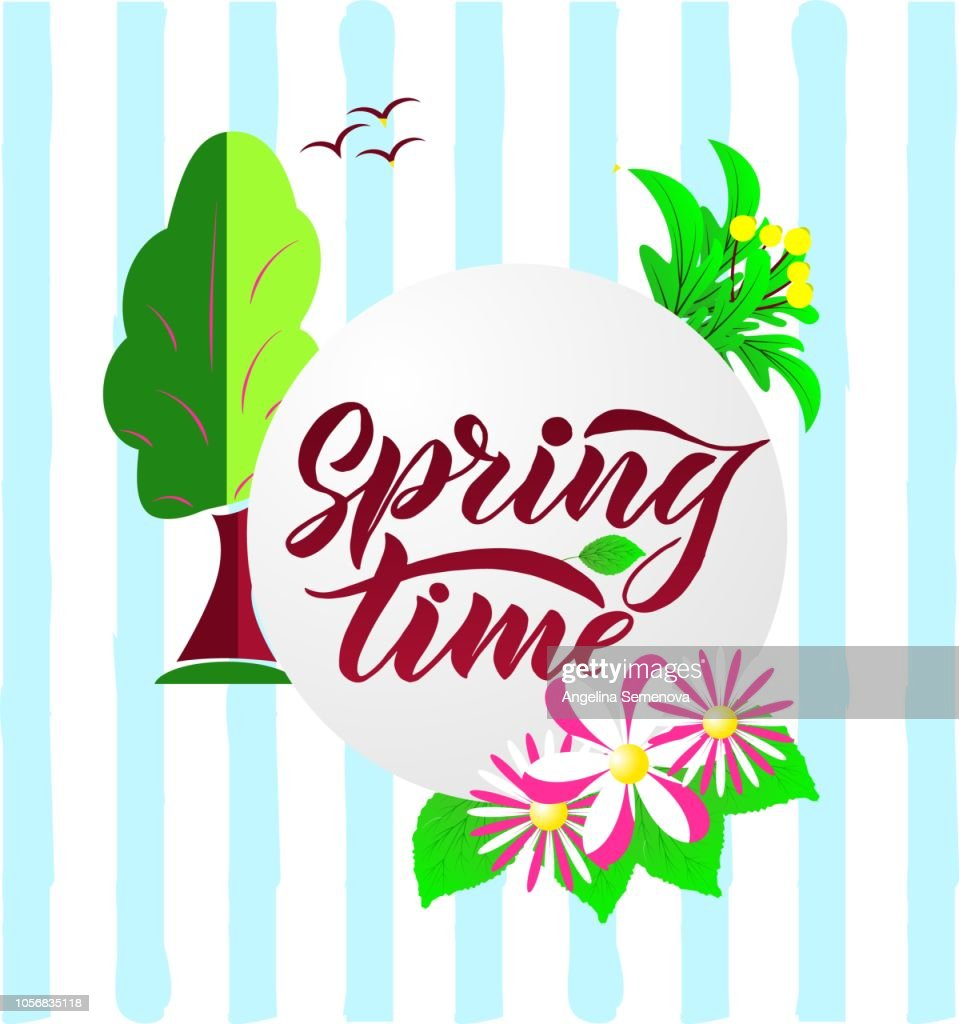 Composition with Phrase Spring Time with green leaves. Vector season quote.