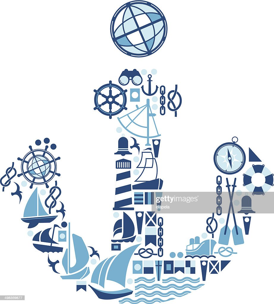 composition with sailing symbols vector art getty images