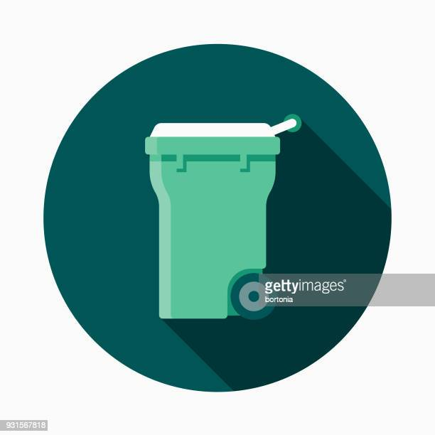 Compost Bin Flat Design Gardening Icon with Side Shadow