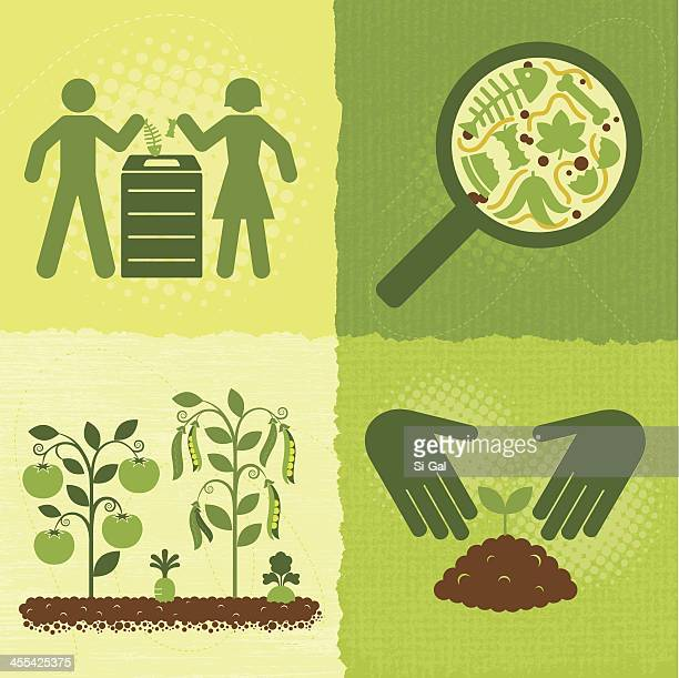 compost icons (green world series) - vegetable garden stock illustrations, clip art, cartoons, & icons