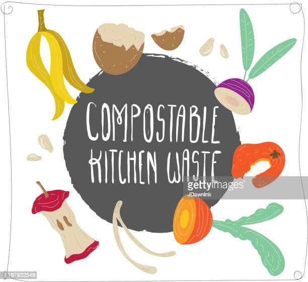 illustrations, cliparts, dessins animés et icônes de compostable cuisine déchets compostavec des restes de nourriture dessinés à la main - humus