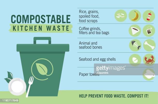 illustrations, cliparts, dessins animés et icônes de infographie compostable de recyclage de déchets de cuisine avec des icônes - humus