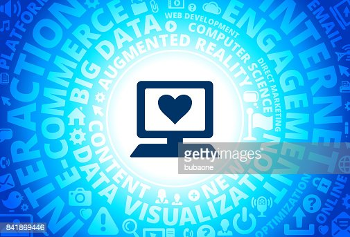 Computer And Heart Symbol Icon On White Round Vector Button Vector