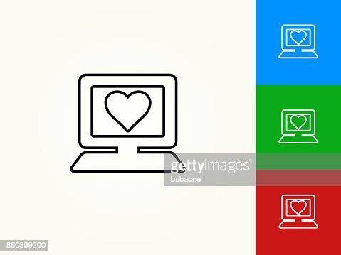 Computer And Heart Symbol Black Stroke Linear Icon Vector Art