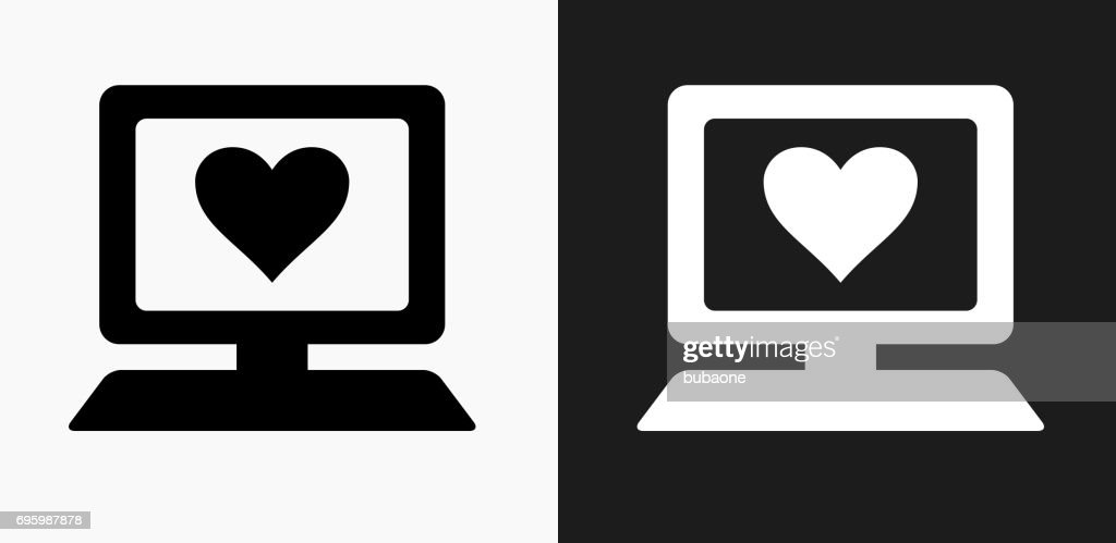 Computer And Heart Symbol Icon On Black And White Vector Backgrounds