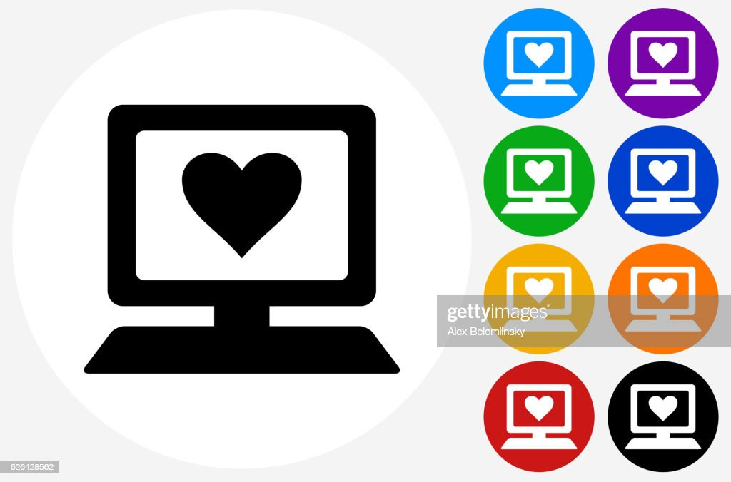 Computer And Heart Symbol Icon On Flat Color Circle Buttons Vector