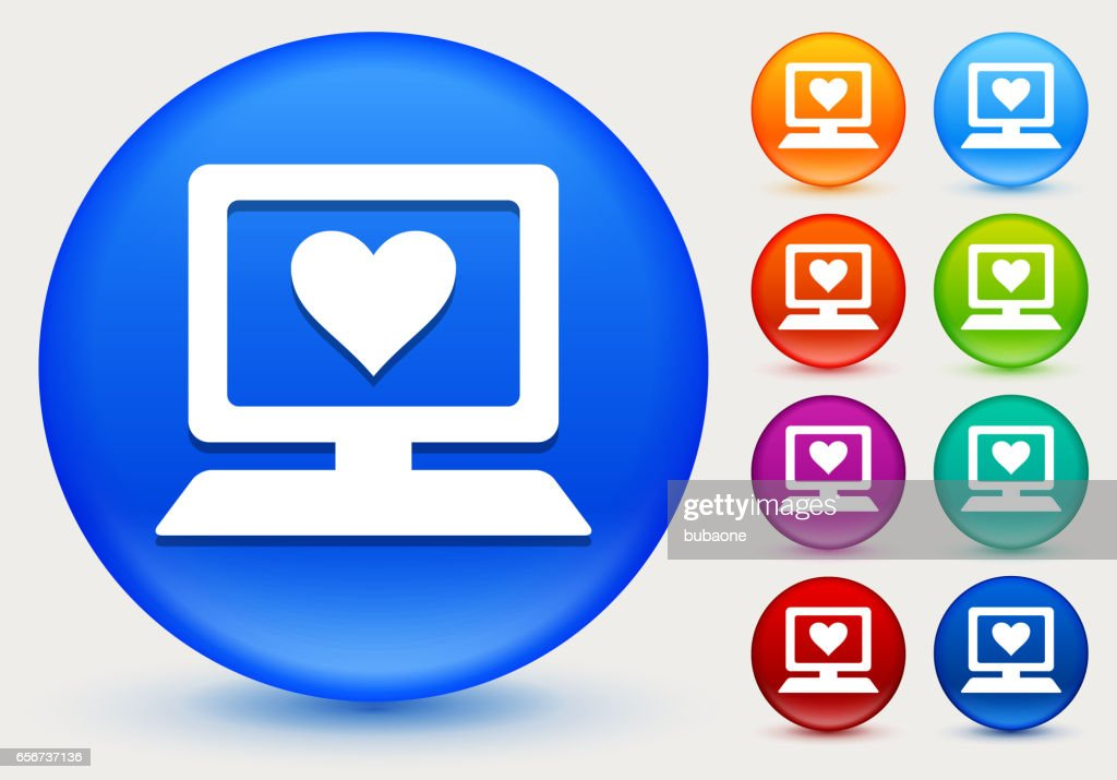 Computer And Heart Symbol Icon On Shiny Color Circle Buttons Vector