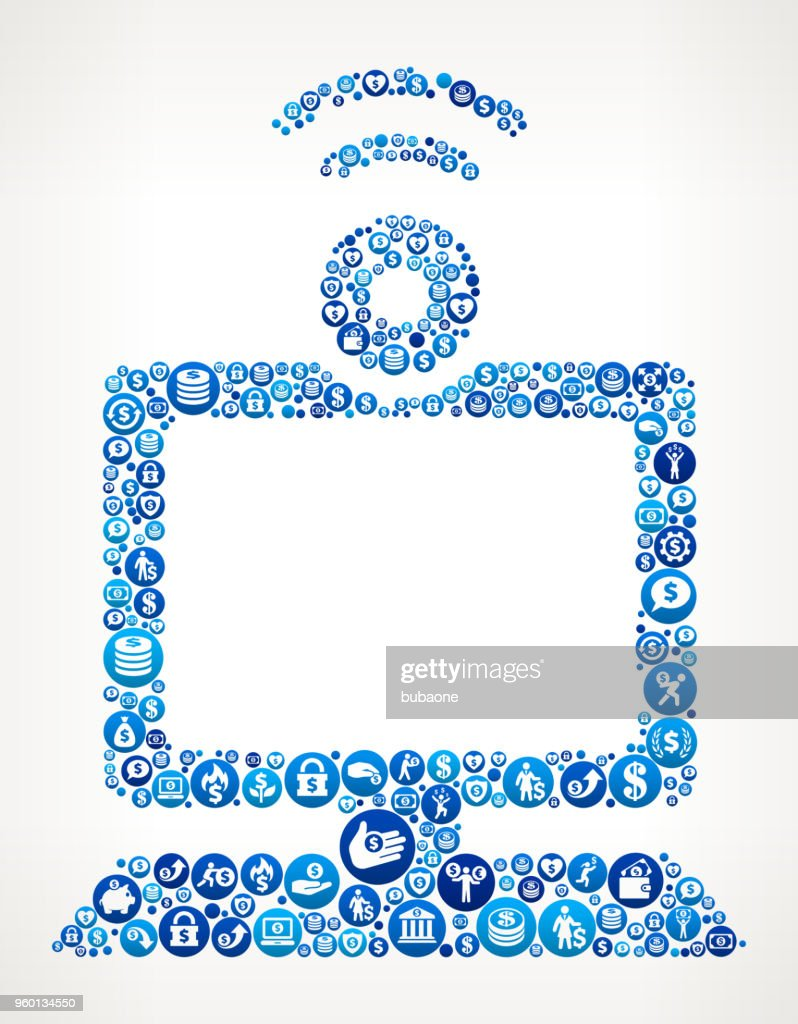 Computer and Video Chat Money Blue Icon Pattern Background : Stock Illustration