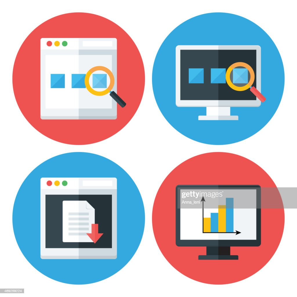 Computer Browser Technology Flat Circle Icons Set