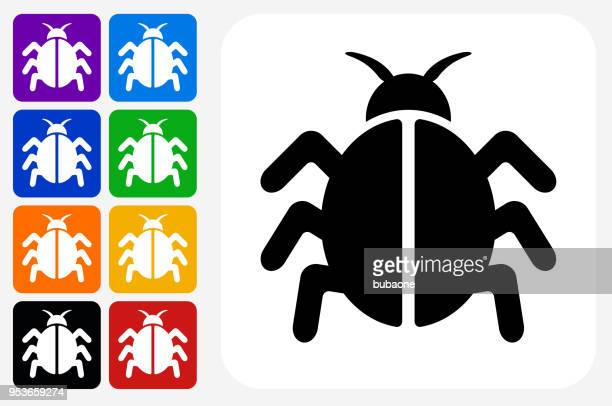 Computer Bug Icon Square Button Set