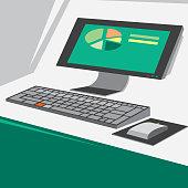 Computer Business Screen (Vector Art)