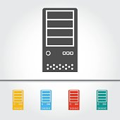 Computer Case Single Icon Vector Illustration